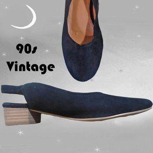 Vintage Ballerina Flats, Black Suede, Sling Back